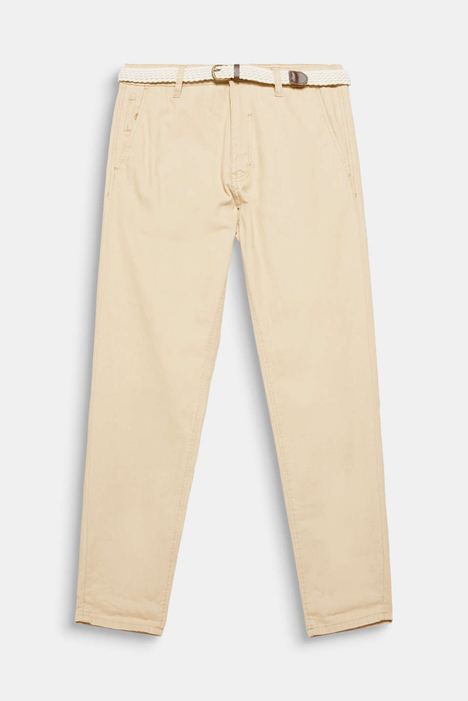The colour-coordinated braided belt completes the look of these summery lightweight trousers in blended linen.