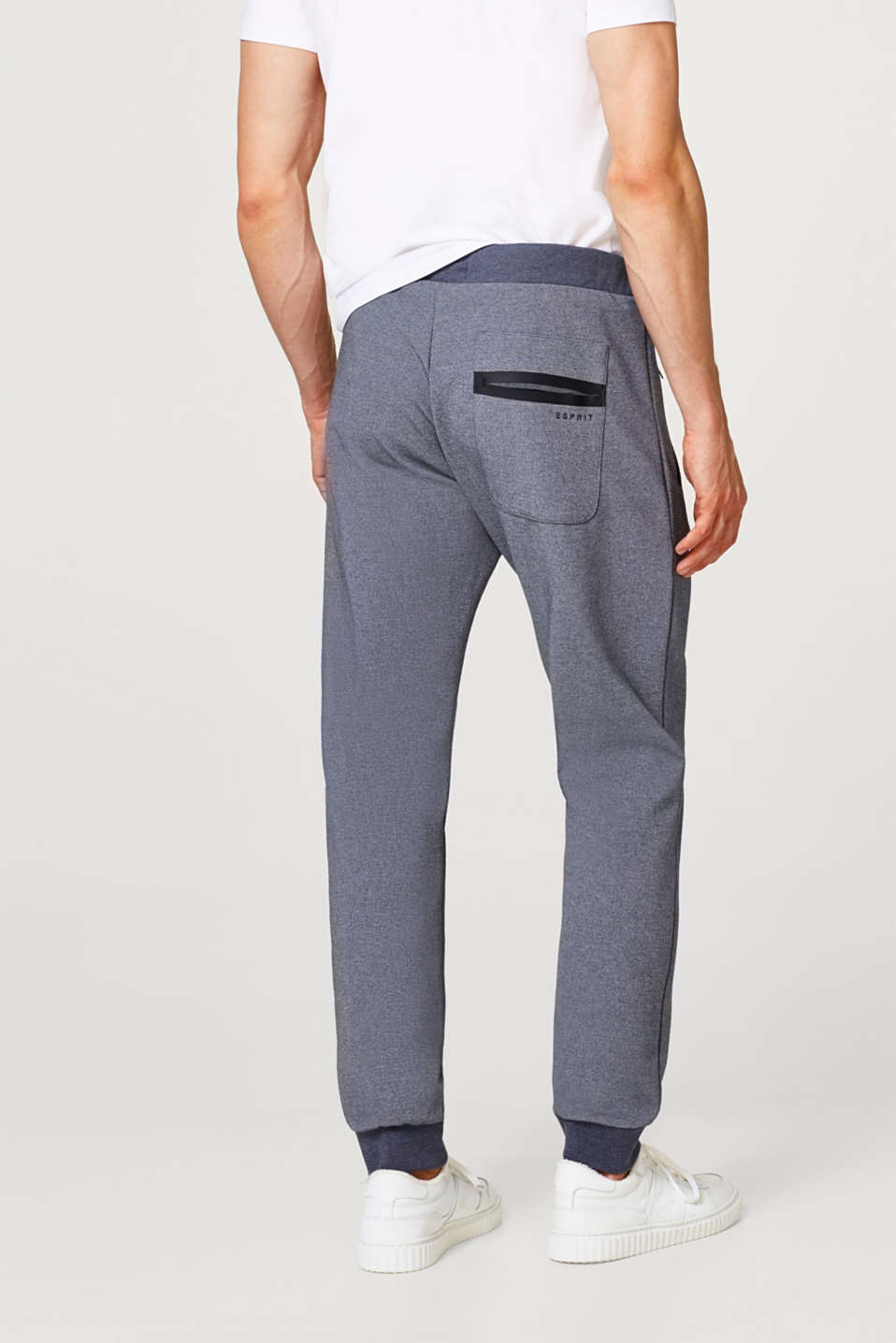 Melange tracksuit bottoms with zip pockets