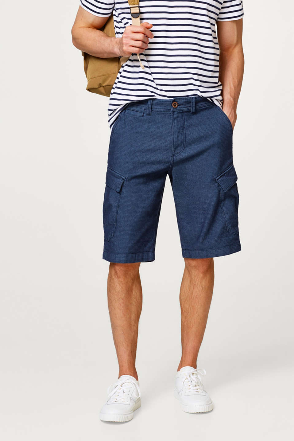 Esprit - Textured denim Bermudas in a cargo style