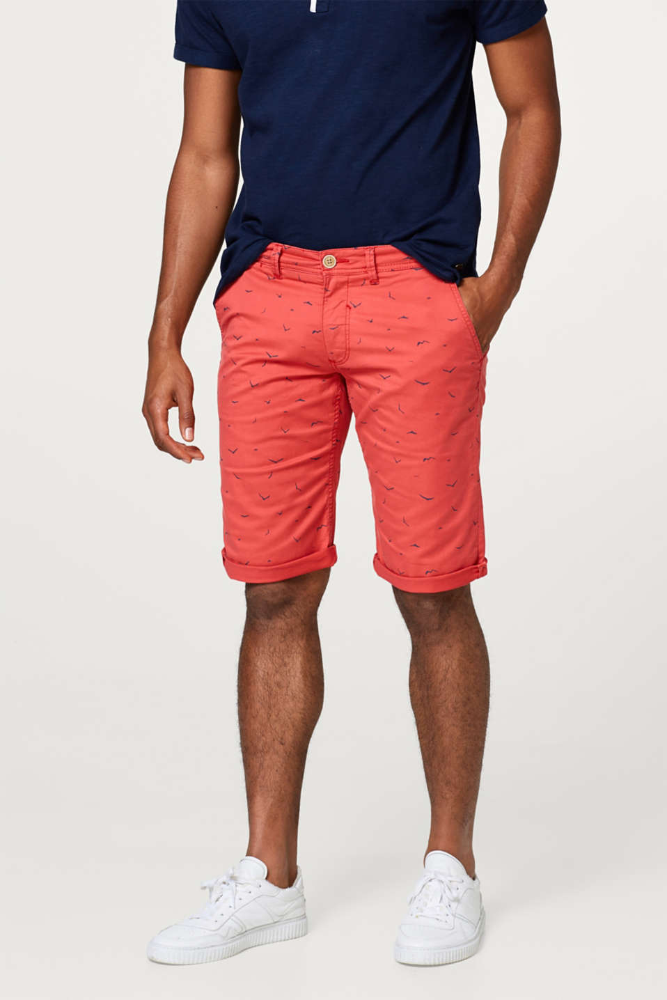 Esprit - Twill short with a seagull print and stretch