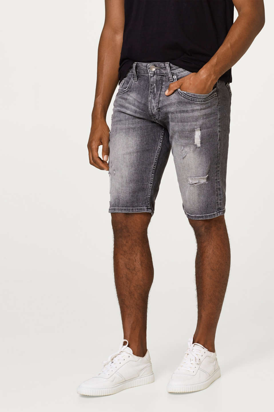 Esprit - Short en jean stretch à effets destroy