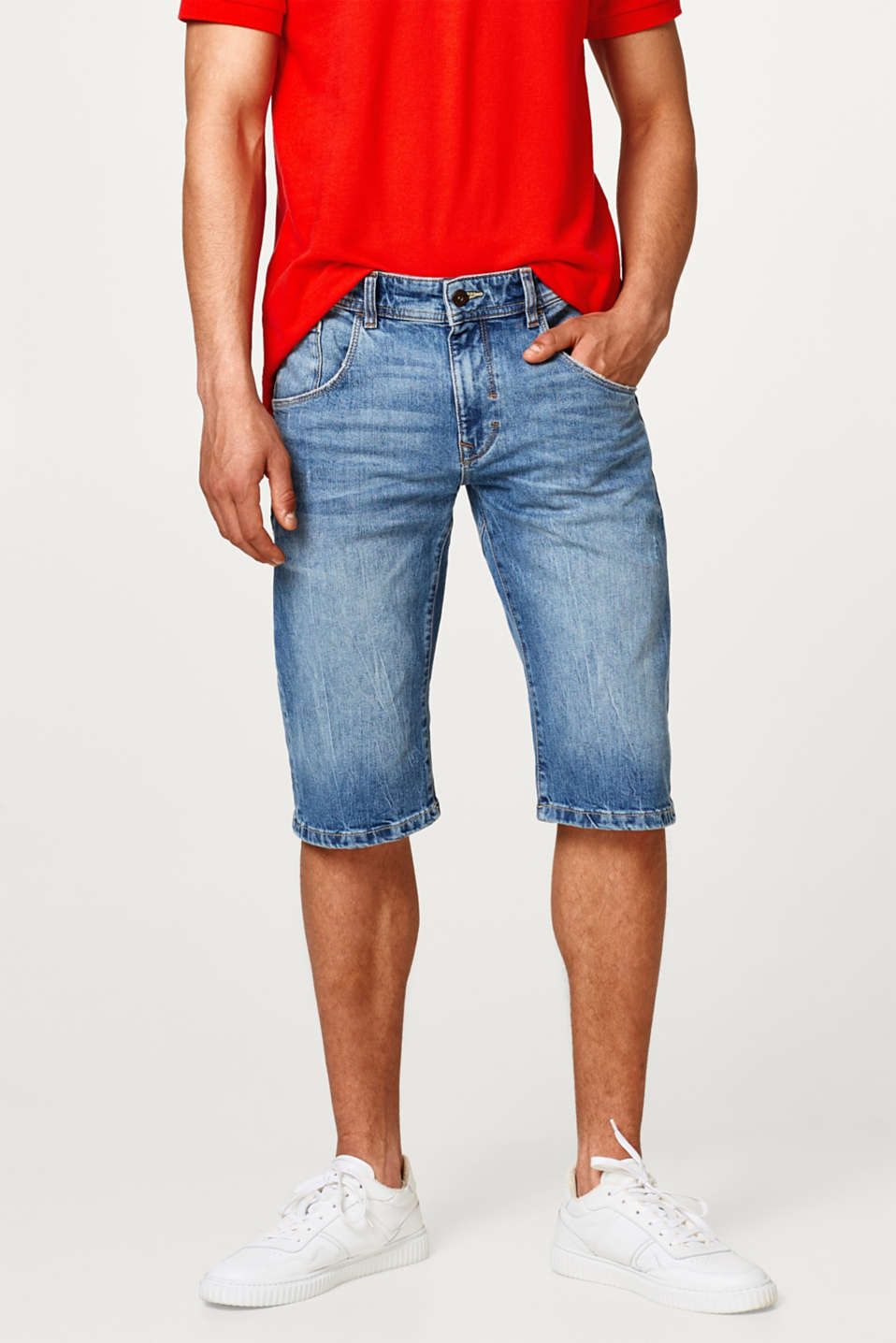 Esprit - Denim shorts made of recycled cotton