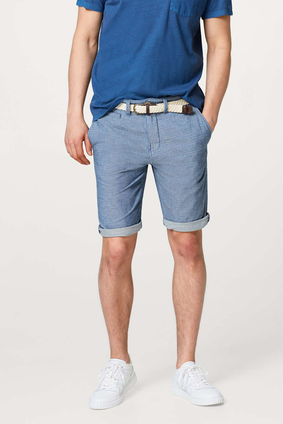 Esprit - Melange cotton shorts, with braided belt
