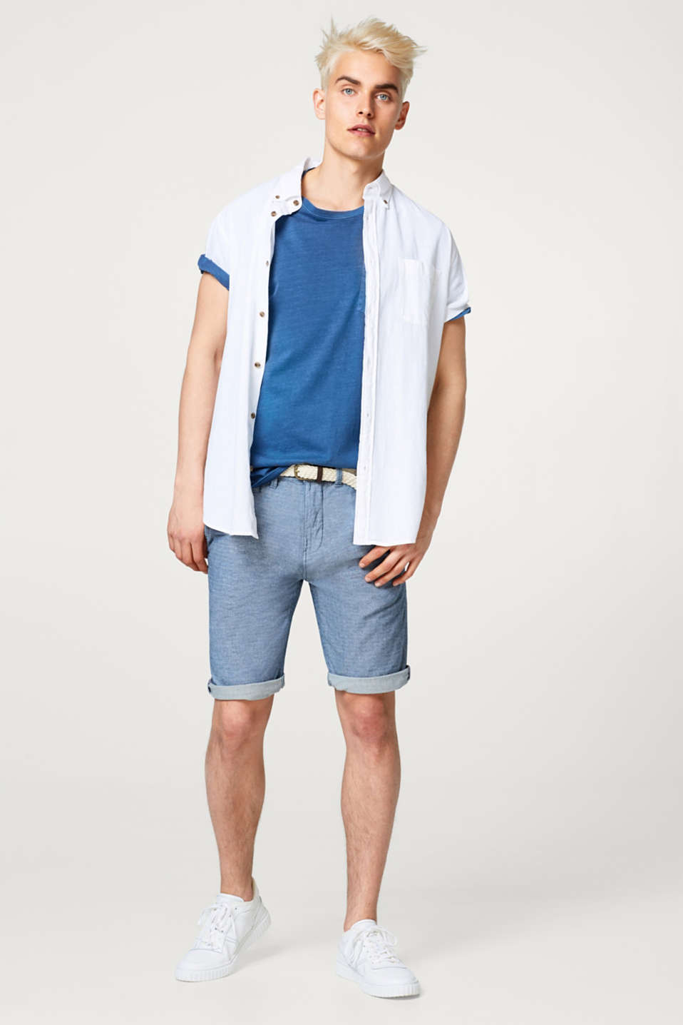 Melange cotton shorts, with braided belt