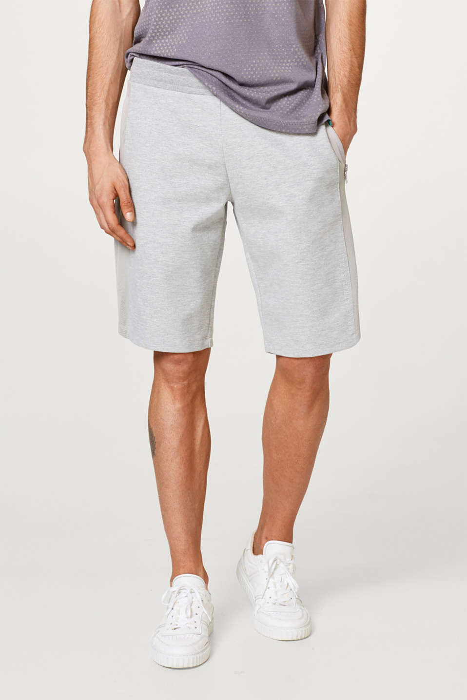 Esprit - Short en molleton chiné à empiècements en mesh