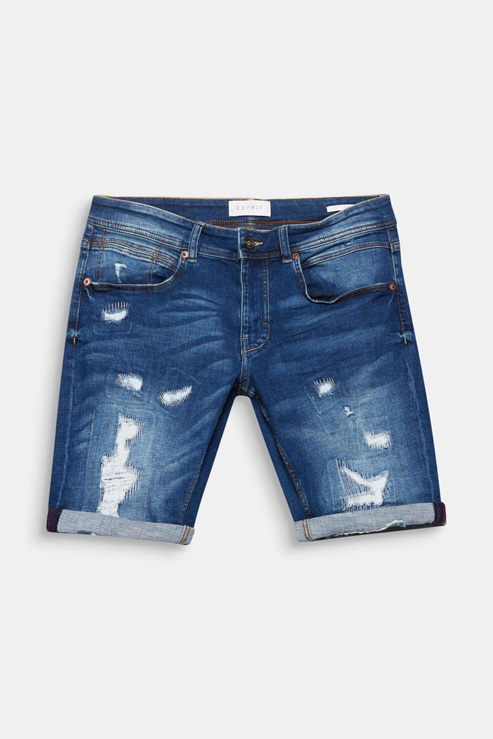 Distinctive distressed effects make these denim shorts with super stretch for comfort a head-turning piece!