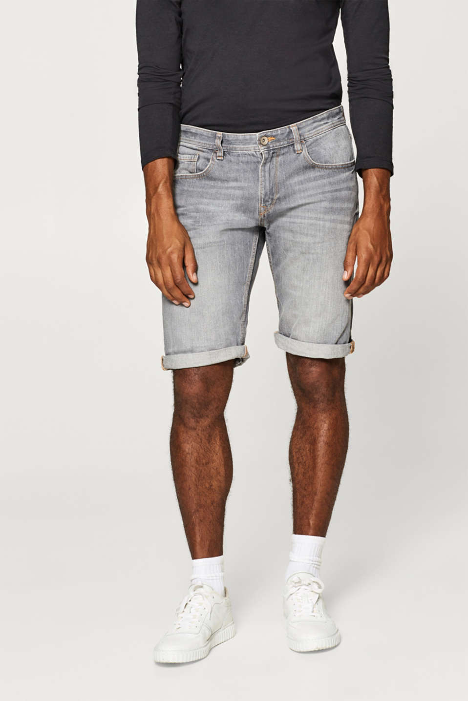Esprit - With linen: denim shorts with vintage effects