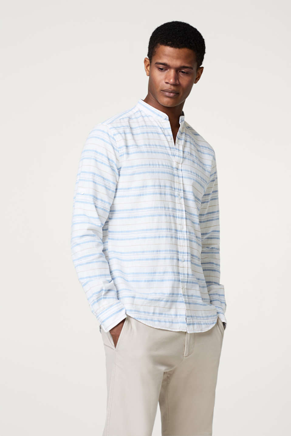 Esprit - Cotton shirt with textured stripes