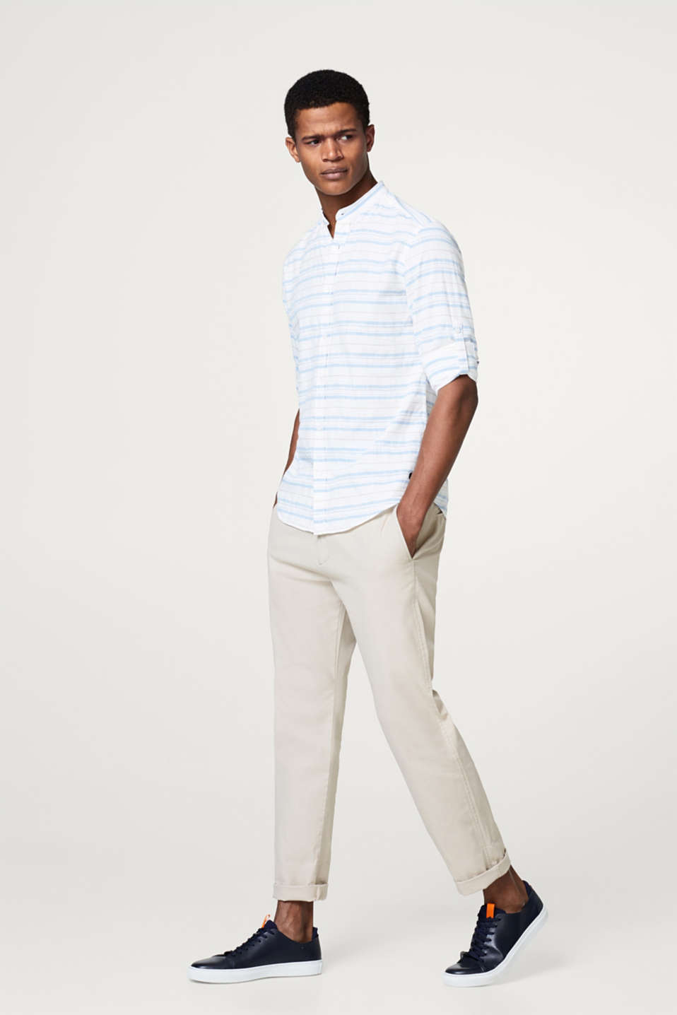 Cotton shirt with textured stripes