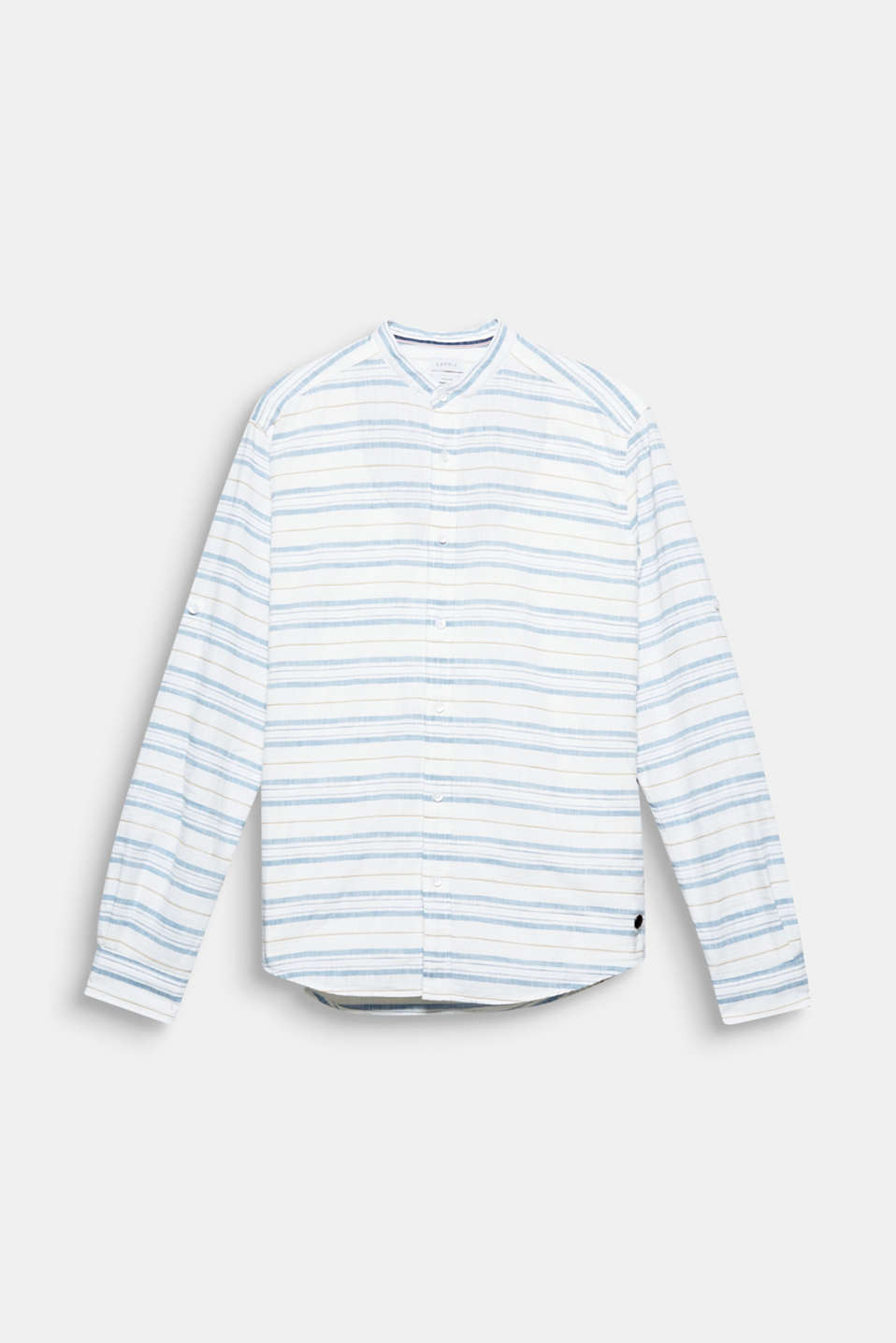 The differently textured stripes give this shirt featuring a stand-up collar and turn-up sleeves a light, summery look.