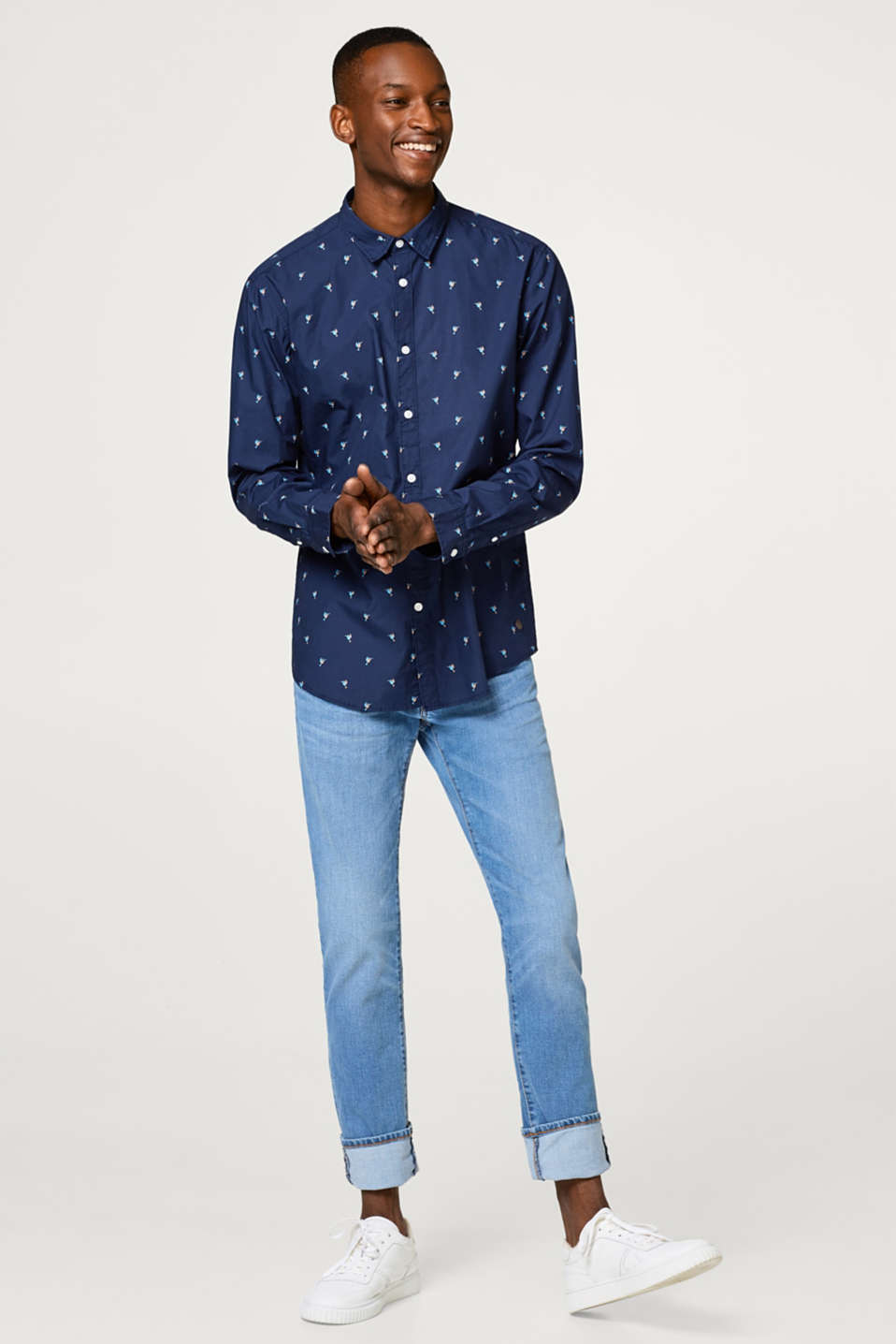 Minimalist print cotton shirt