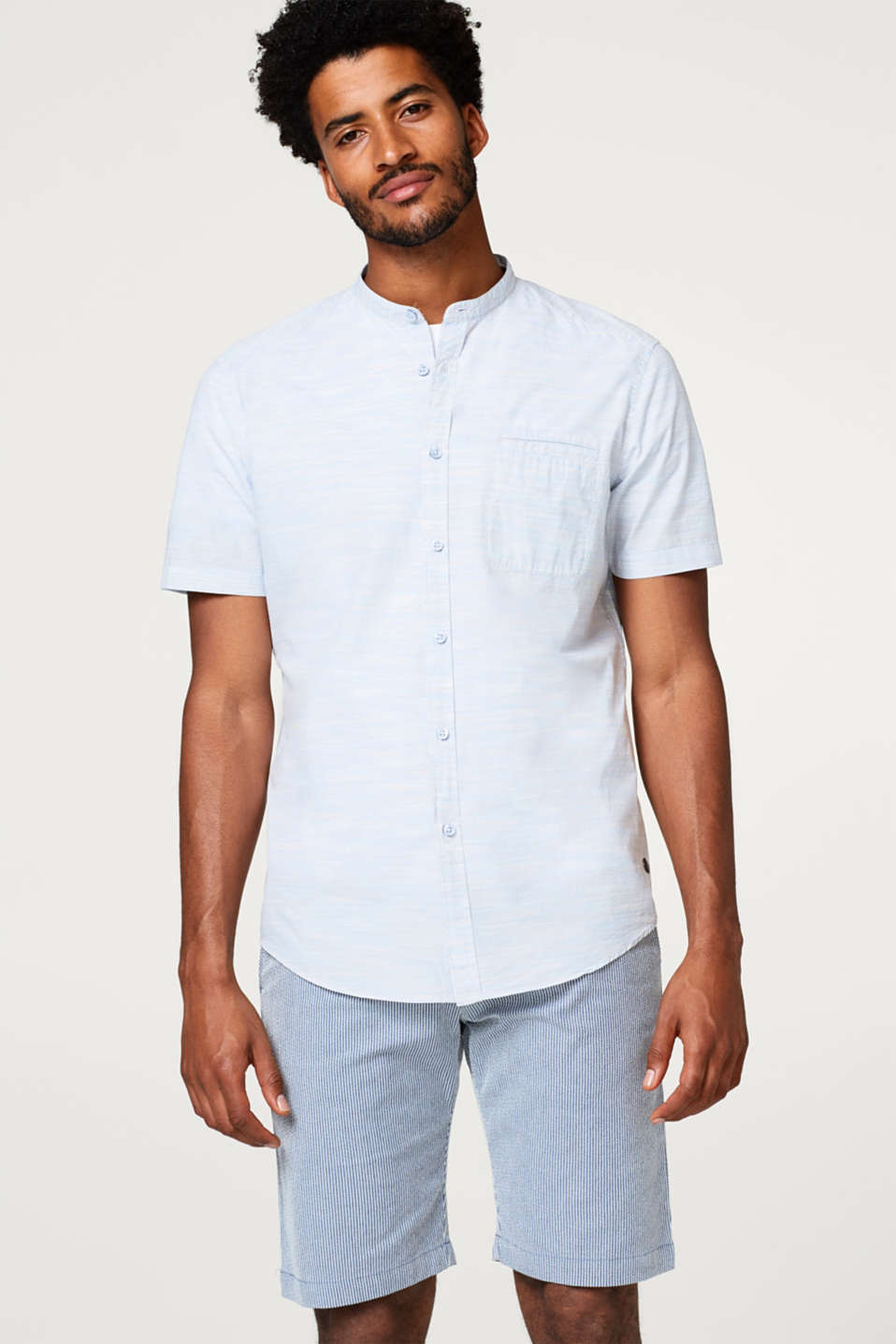 Esprit - Space-dyed, short sleeve shirt with a stand-up collar