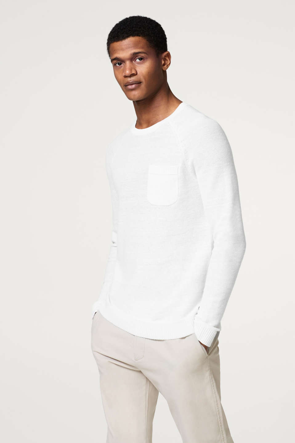Esprit - Made of blended linen: jumper with a breast pocket