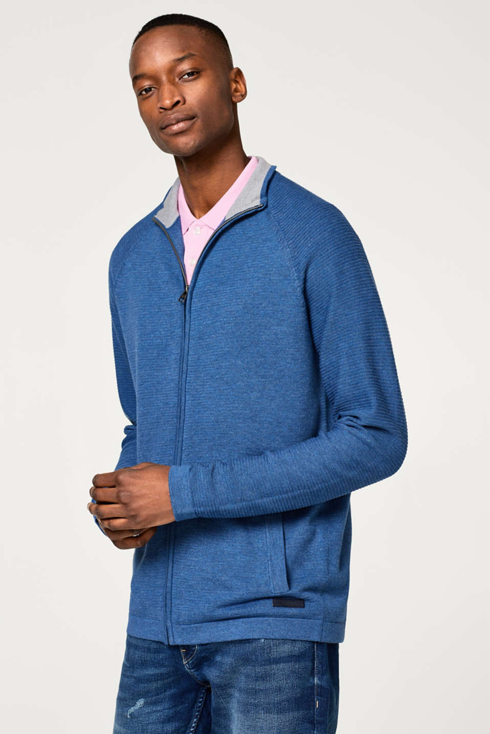 Esprit - Melange cardigan in a cotton blend