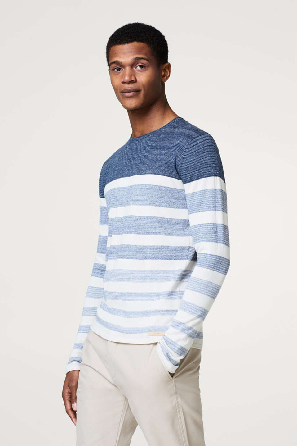 Esprit - Striped jersey long sleeve top, in 100% cotton