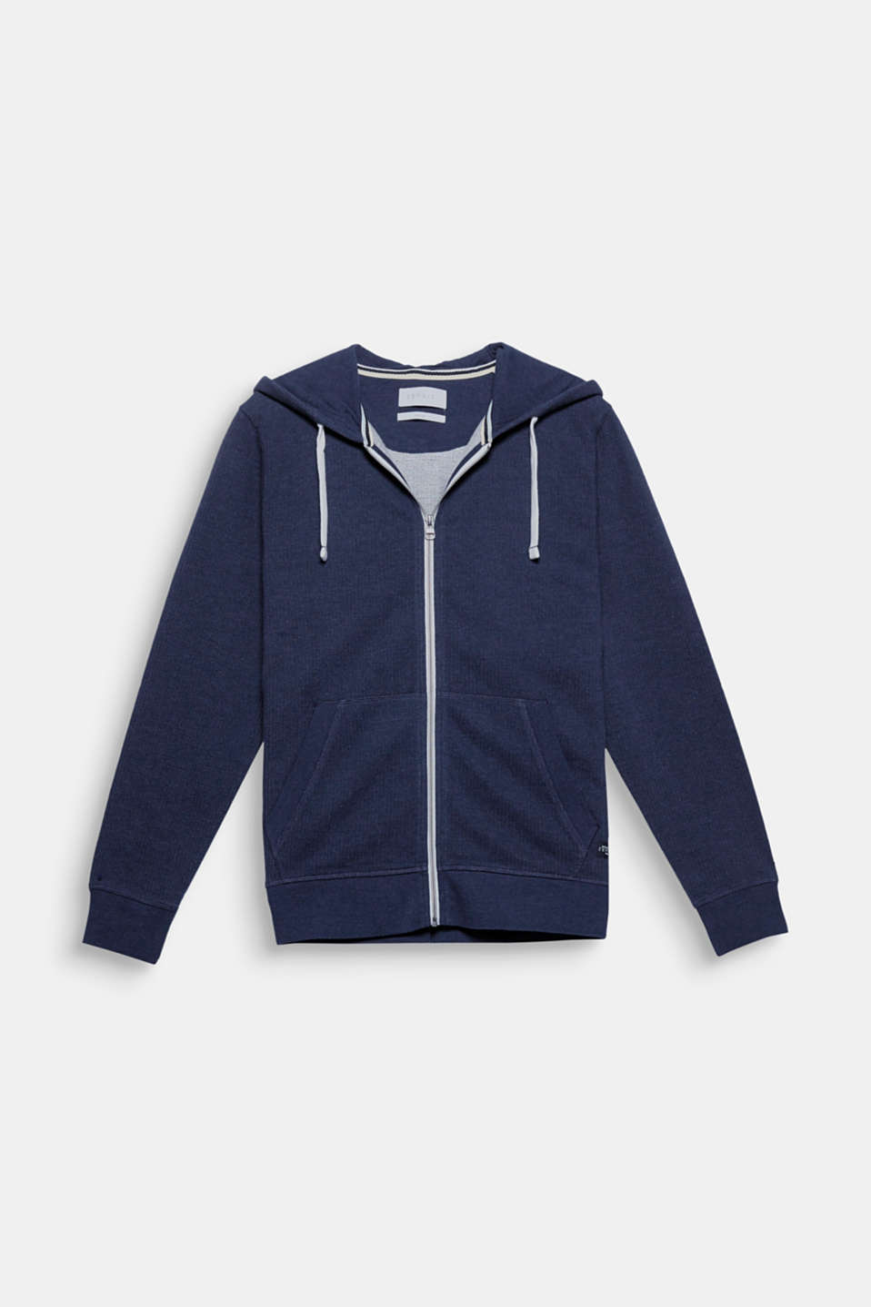 An urban classic - with a grainy piqué update: zip cardigan with a hood made of blended cotton.