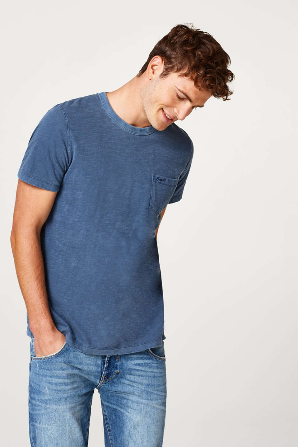 Esprit - Slub jersey T-shirt in a garment-washed look