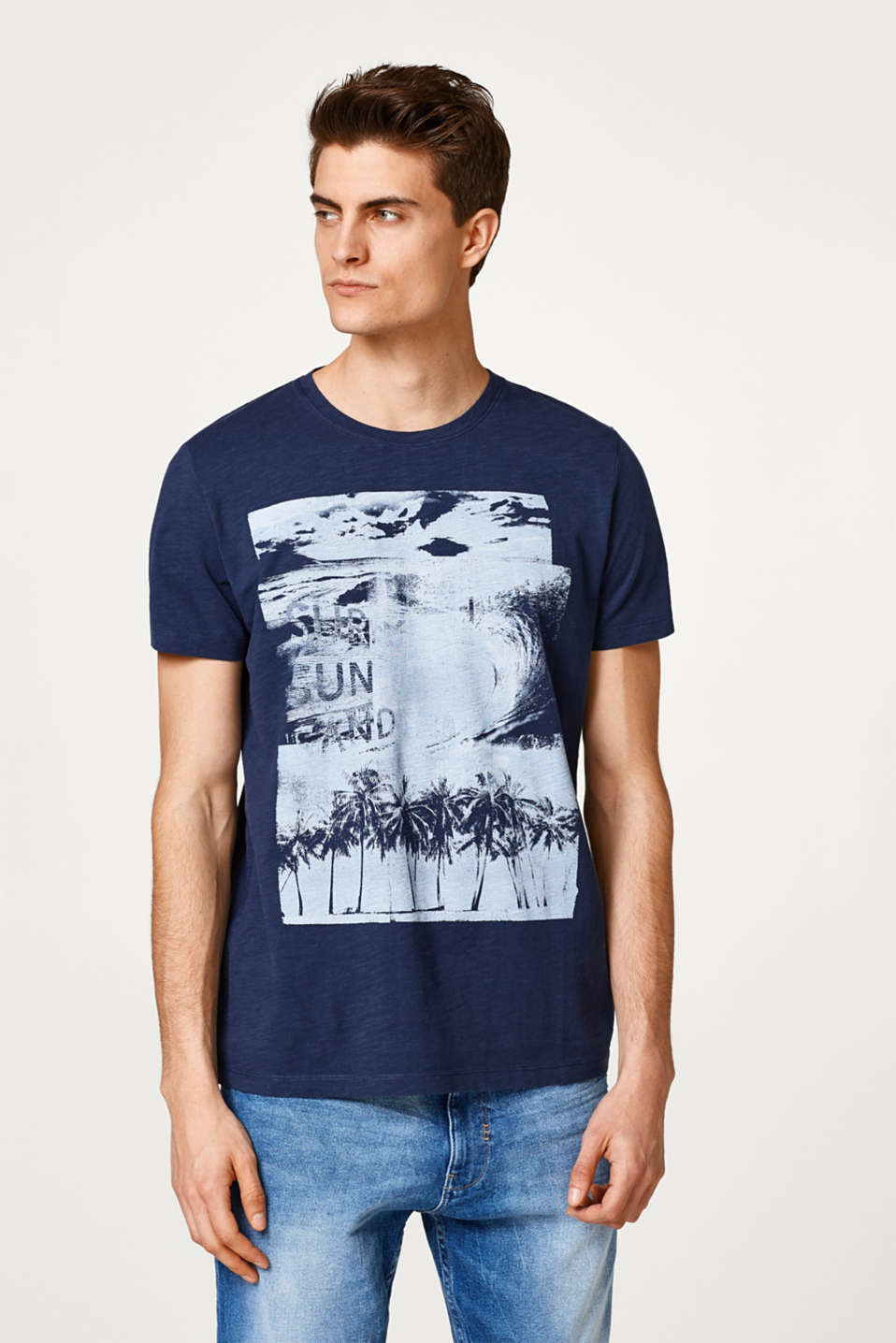 Esprit - Slub jersey T-shirt with a photo print