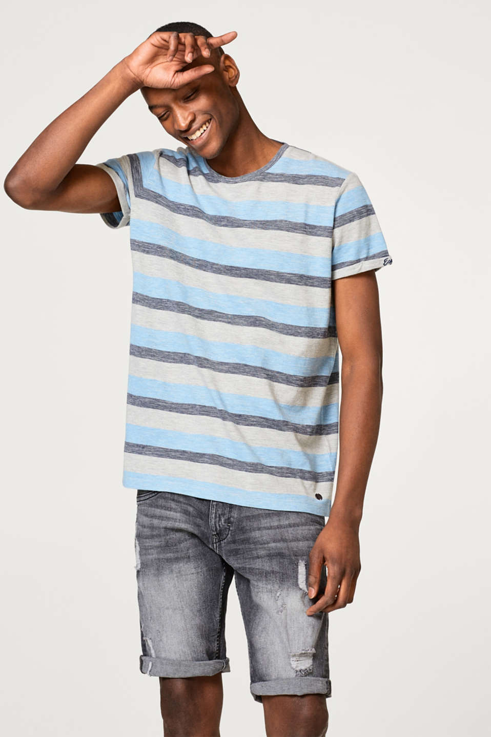 Esprit - Striped piqué T-shirt with cotton