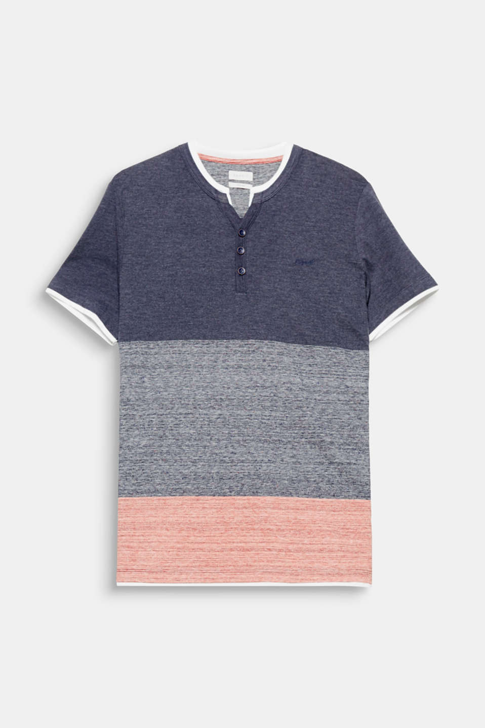 The block stripes in an exciting mix of textures give this Henley T-shirt its casual look.