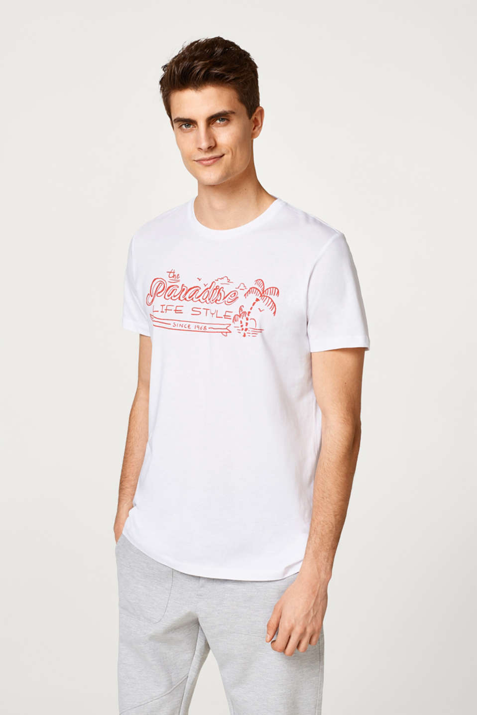 Esprit - Jersey T-shirt with a print in cotton