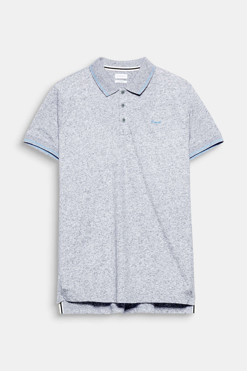 Casual and sporty - thanks to slubs and striped welts: polo shirt in jersey with linen