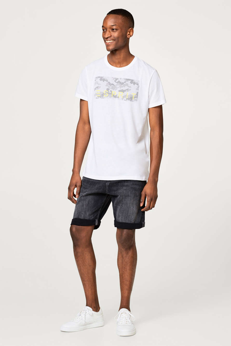 Esprit - Jersey T-shirt with logo print and E-DRY