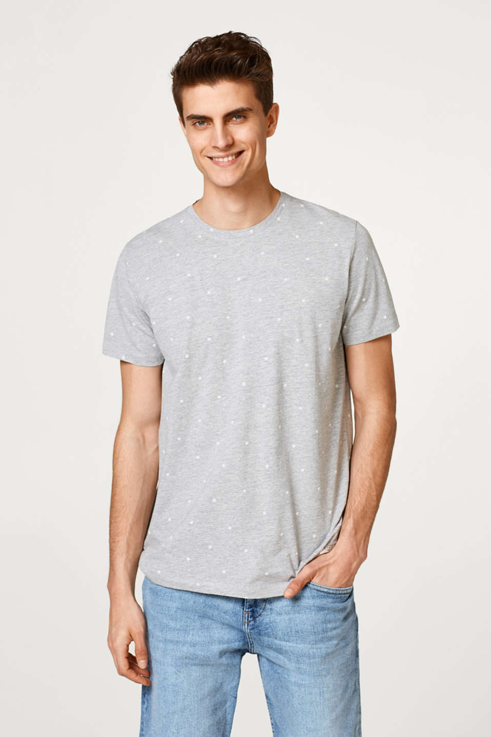 Esprit - Blended cotton jersey T-shirt with a polka dot pattern