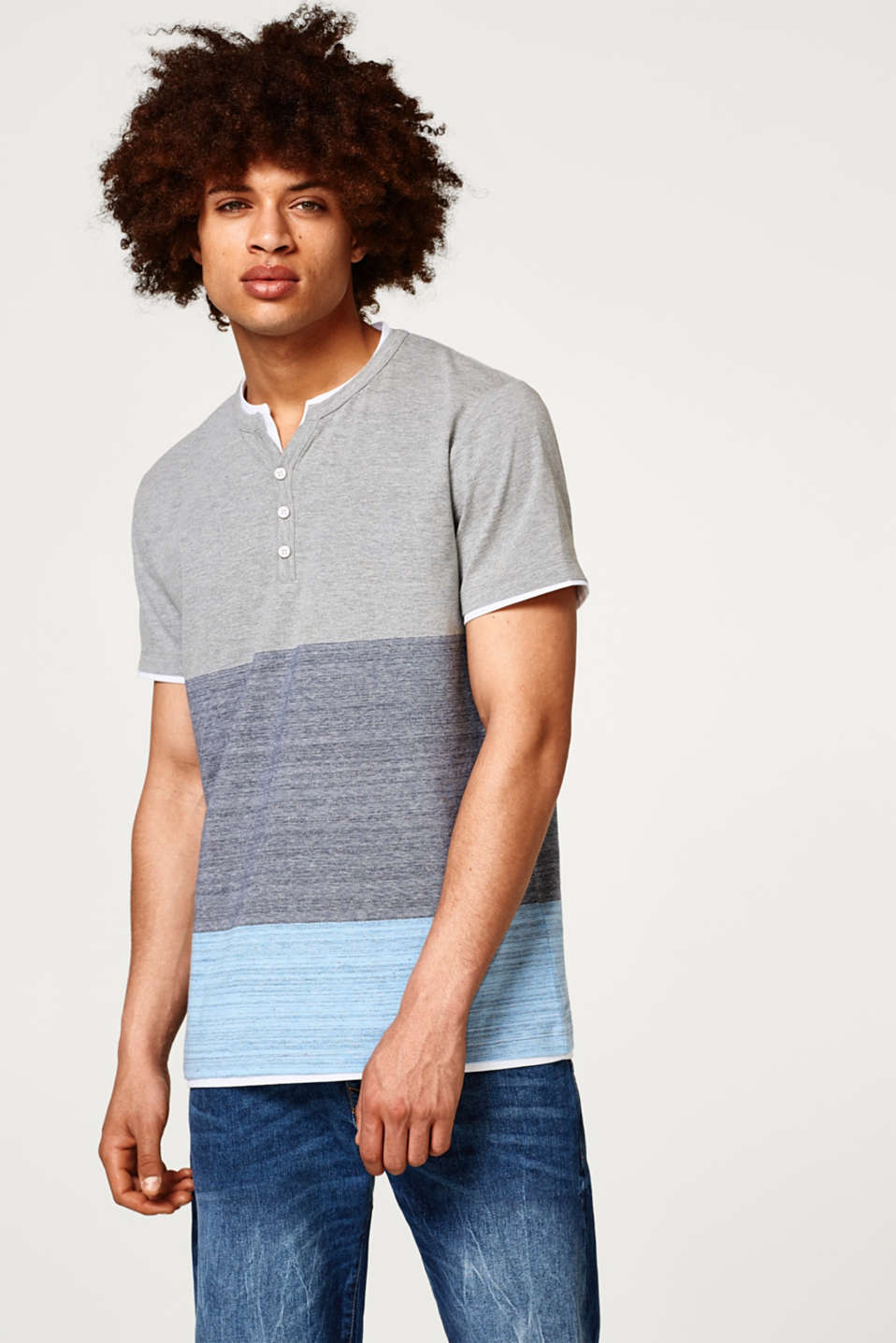 Esprit - Jersey Henley T-shirt with block stripes