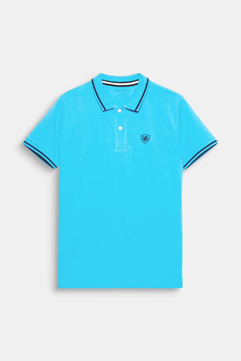 The striped welts on the neckline, sleeve cuffs and hem plus a nautical crest appliqué give this cotton piqué polo shirt a nautical look.