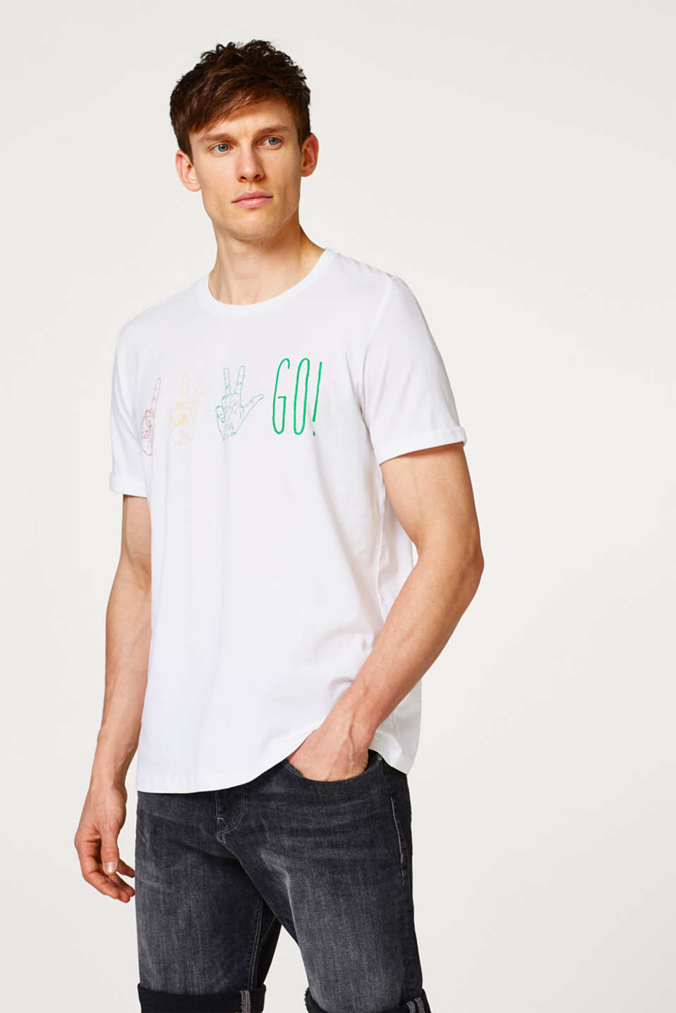 Esprit - Jersey T-shirt with colourful prints, in cotton