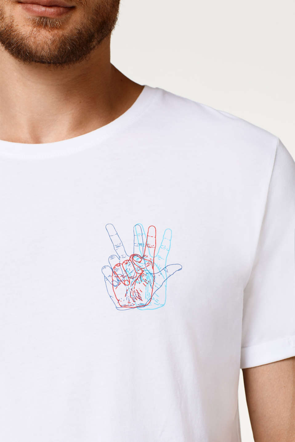 Jersey T-shirt with colourful prints, in cotton