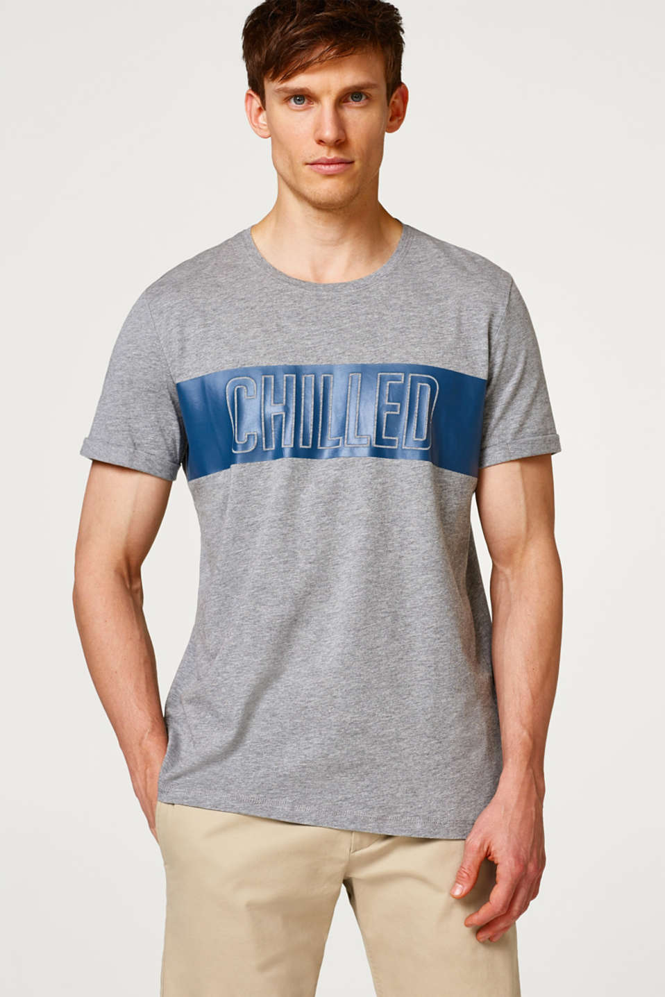 Esprit - Jersey T-shirt with a statement print, in a cotton blend