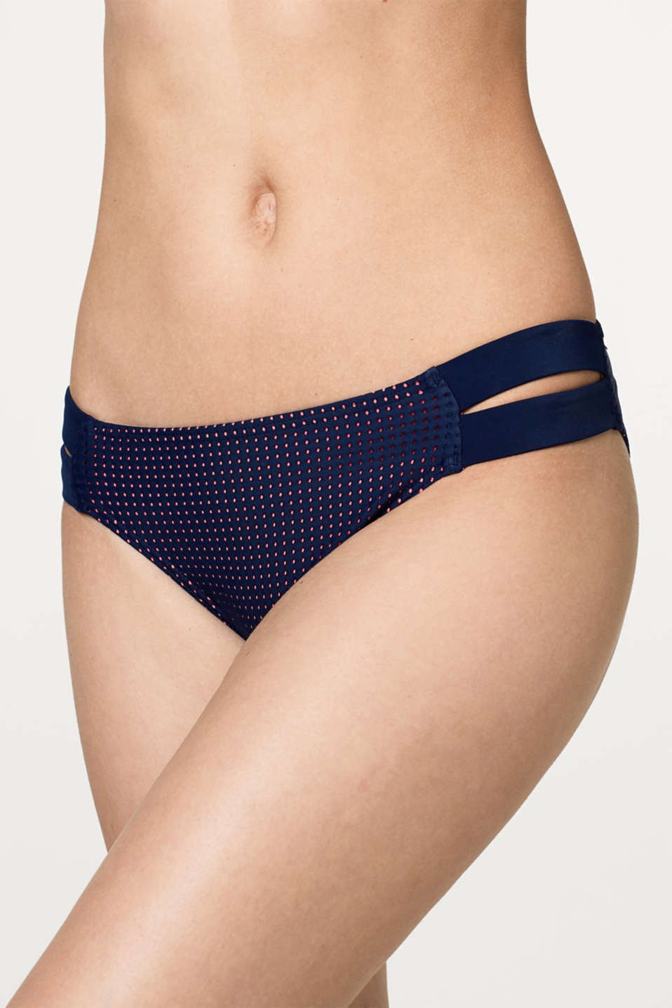 Laser-cut bikini bottoms with neon-coloured lining