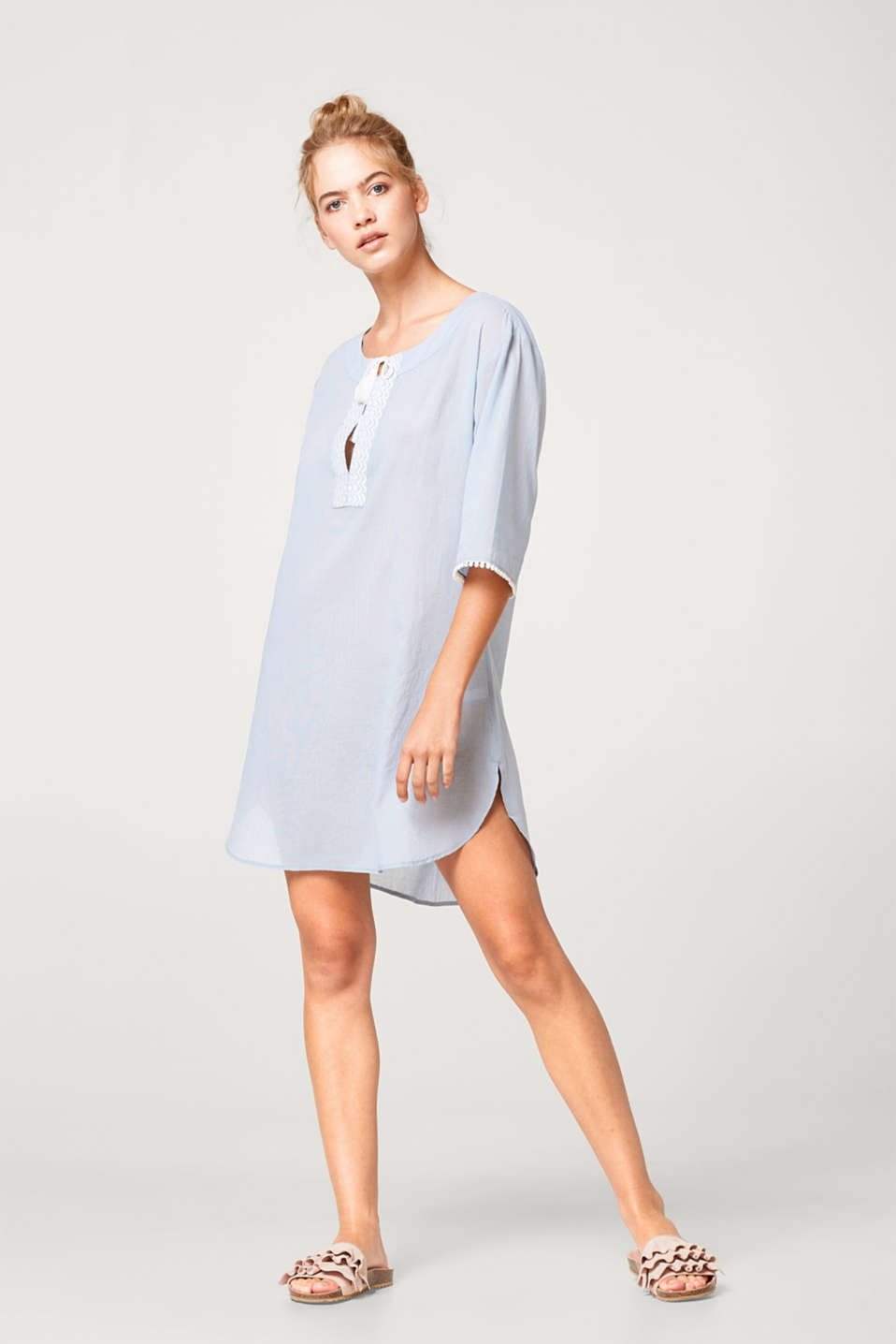 Esprit - Lightweight tunic with embroidery, 100% cotton