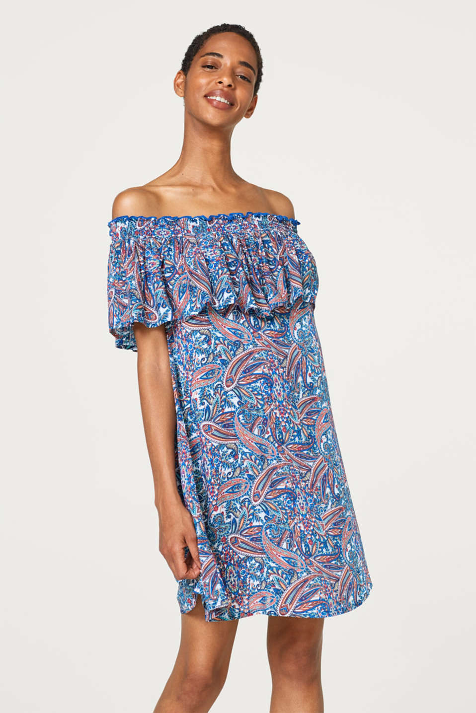 Esprit - Off-Shoulder-Kleid mit Paisley-Print