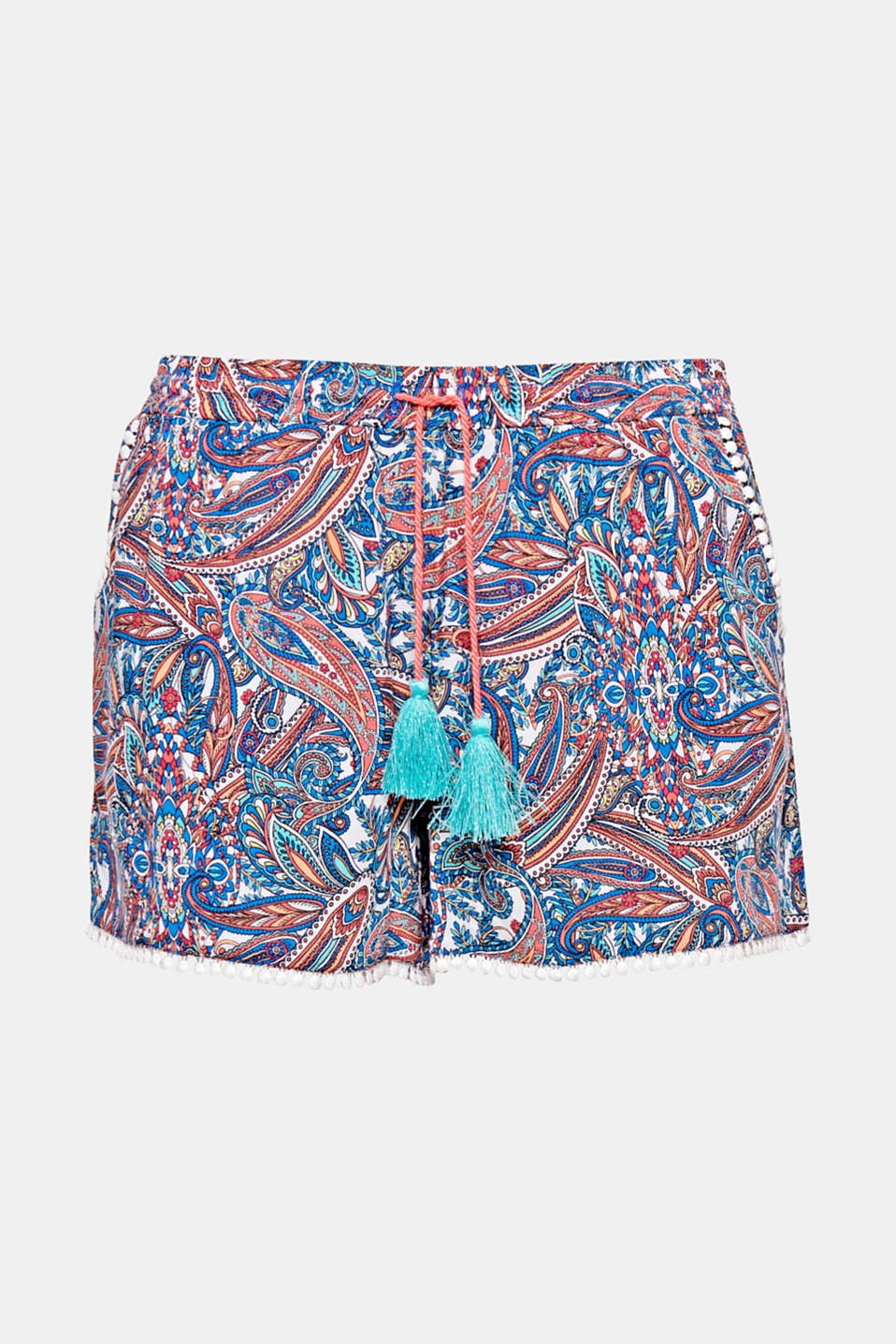 PELICAN COLLECTION - A perfect enhancement to your bikini or swimsuit: woven shorts with colourful paisley print!