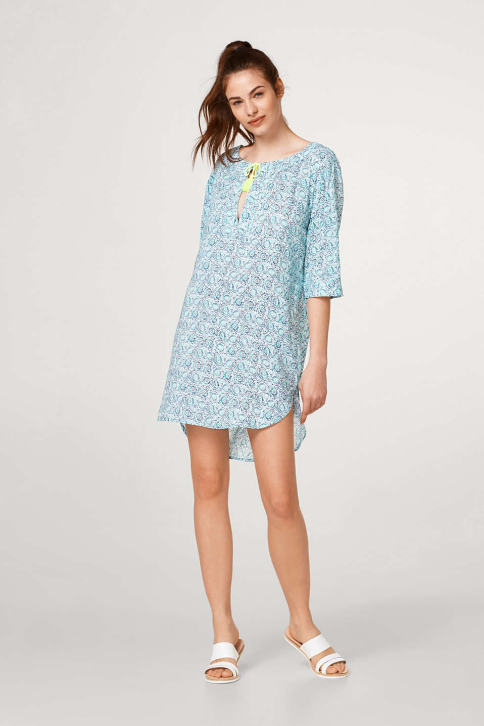 Esprit - Tunic dress with an ornamental design and tassels