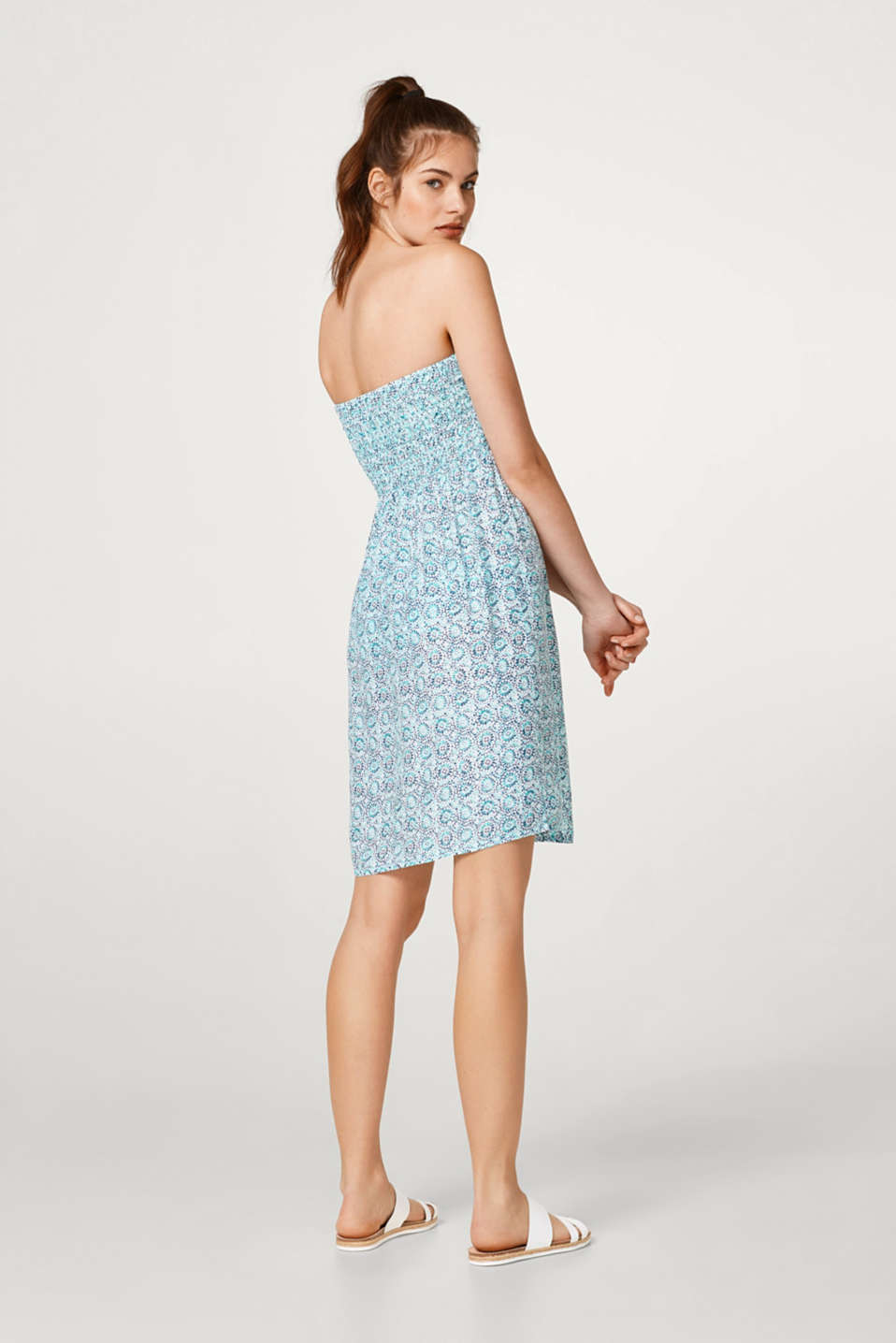 Flowing bandeau dress with an ornamental print