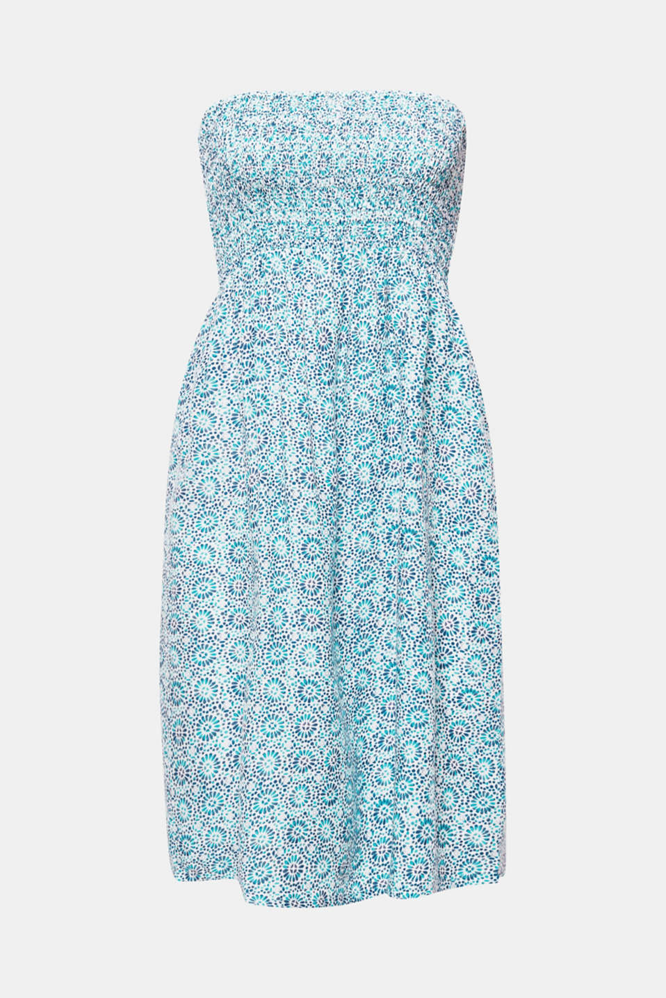 RAVINE BEACH collection – this bandeau dress with an ornamental print is quick to throw on for a light and airy summer beach look.