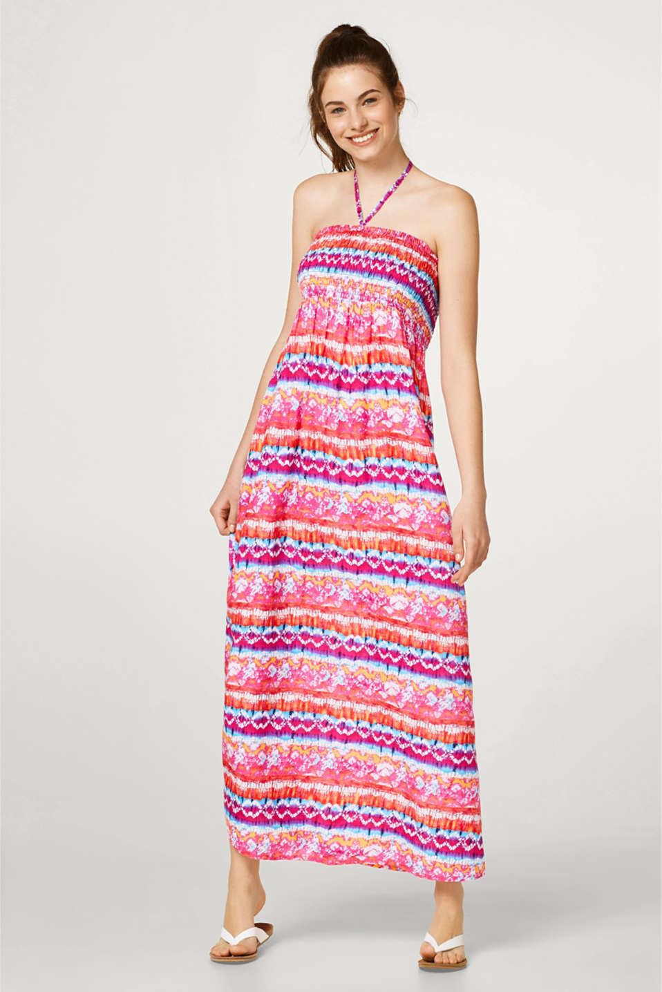 Esprit - Maxi bandeau dress with vibrant colour gradation