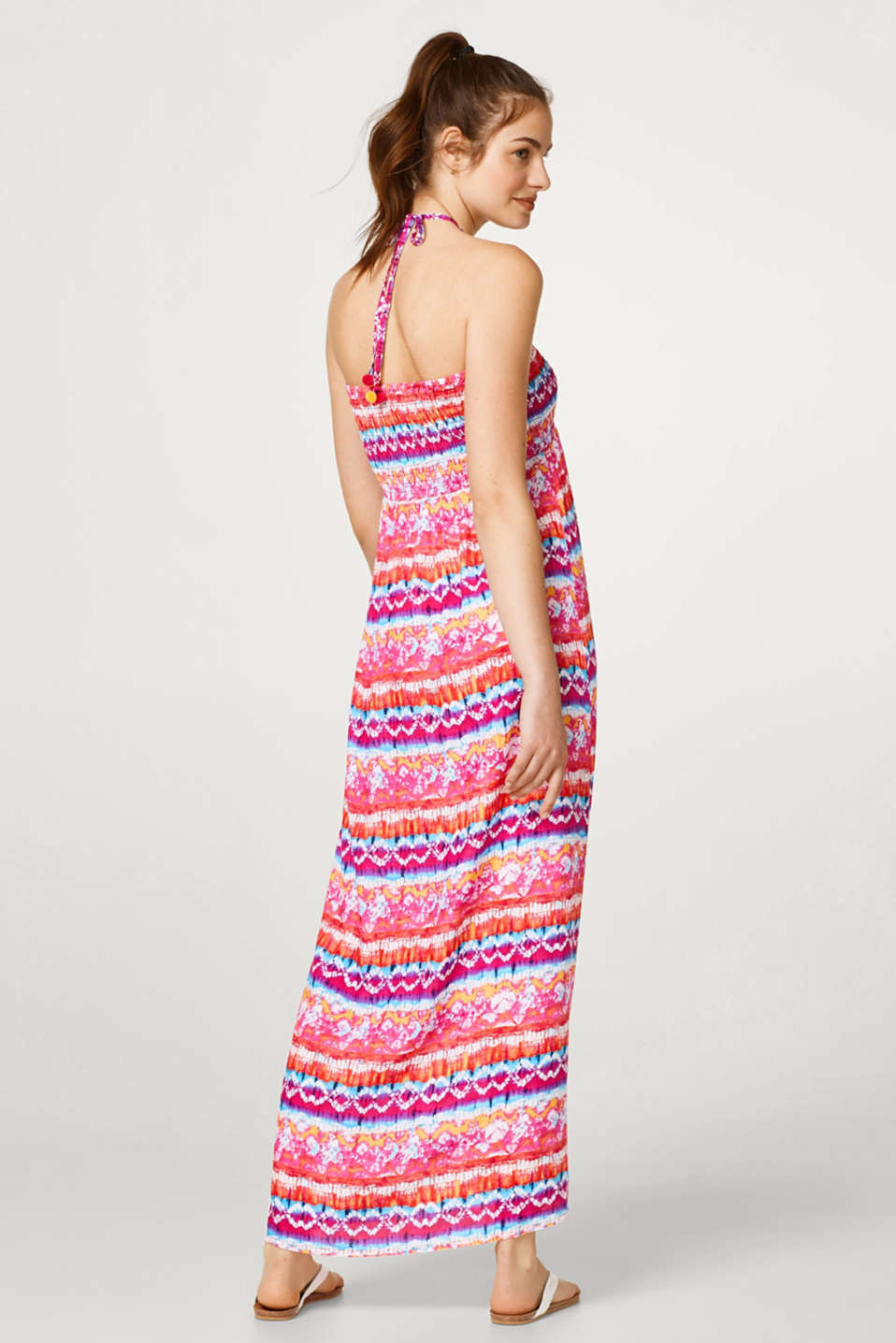 Maxi bandeau dress with vibrant colour gradation