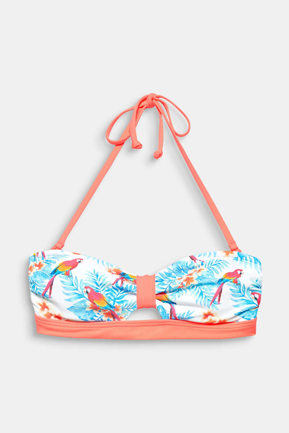 MALIBU BEACH collection – colourful parrots and decorative leaves give this padded bandeau top with detachable halterneck ties its tropical flair!