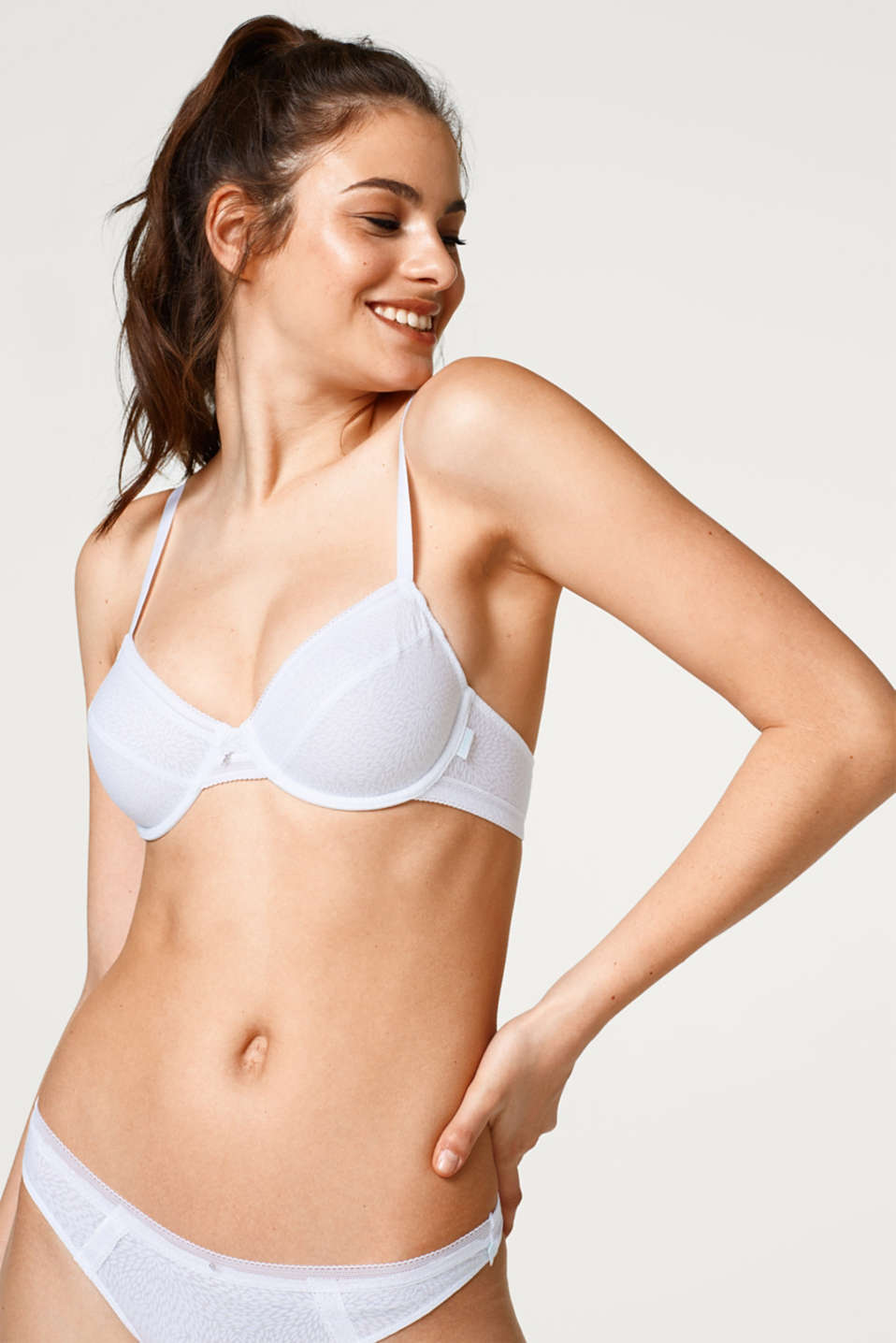 Esprit - Unpadded underwire bra with a jacquard pattern