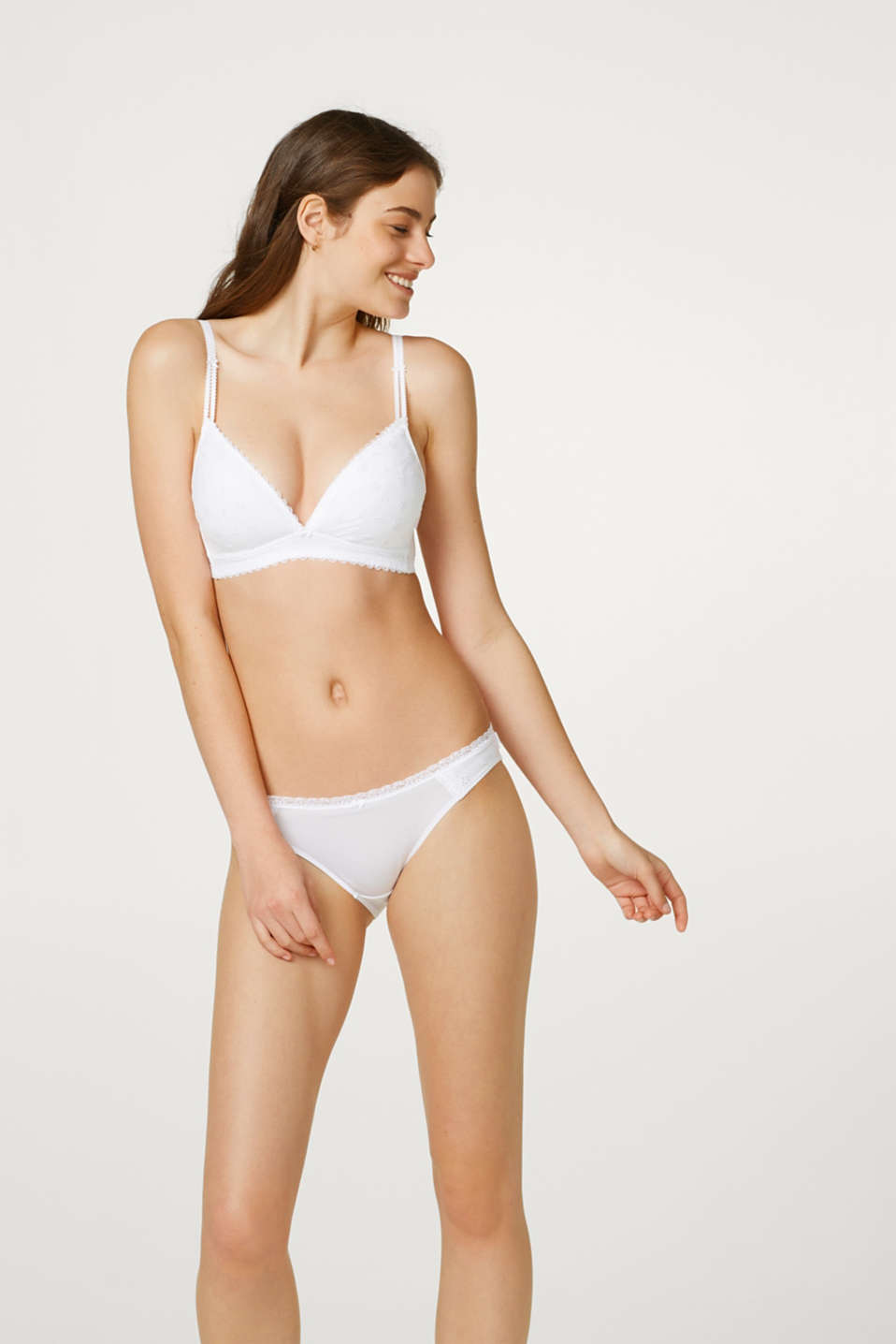 Esprit - Non-wired, padded bra with broderie anglaise at our Online Shop