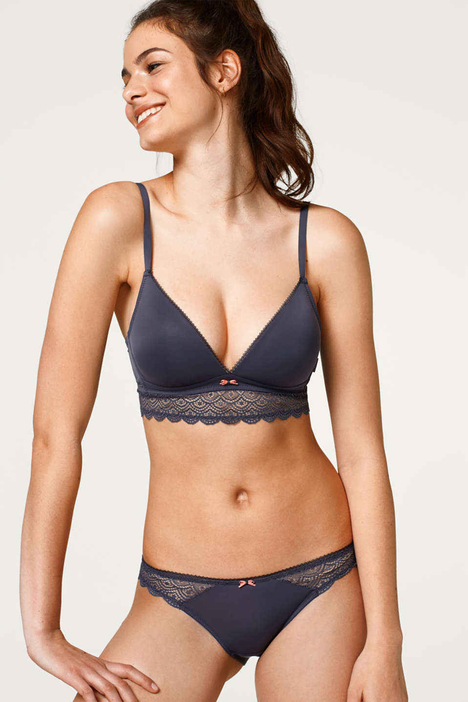 Esprit - Padded non-wired bra with lace trim