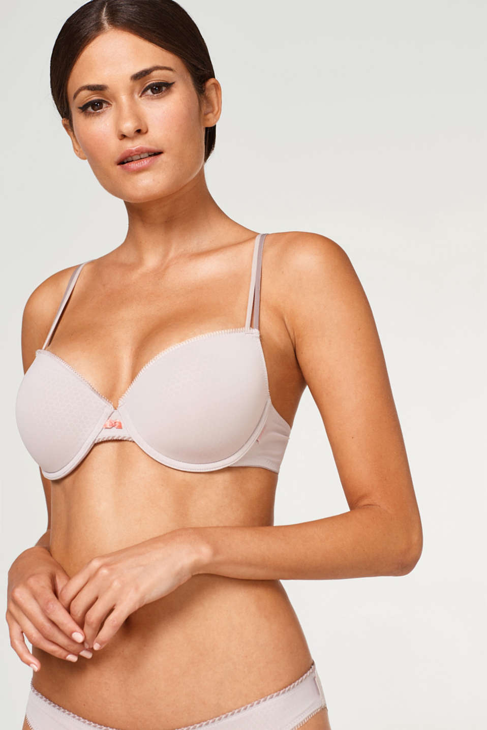 Esprit - Padded underwire bra with a honeycomb texture