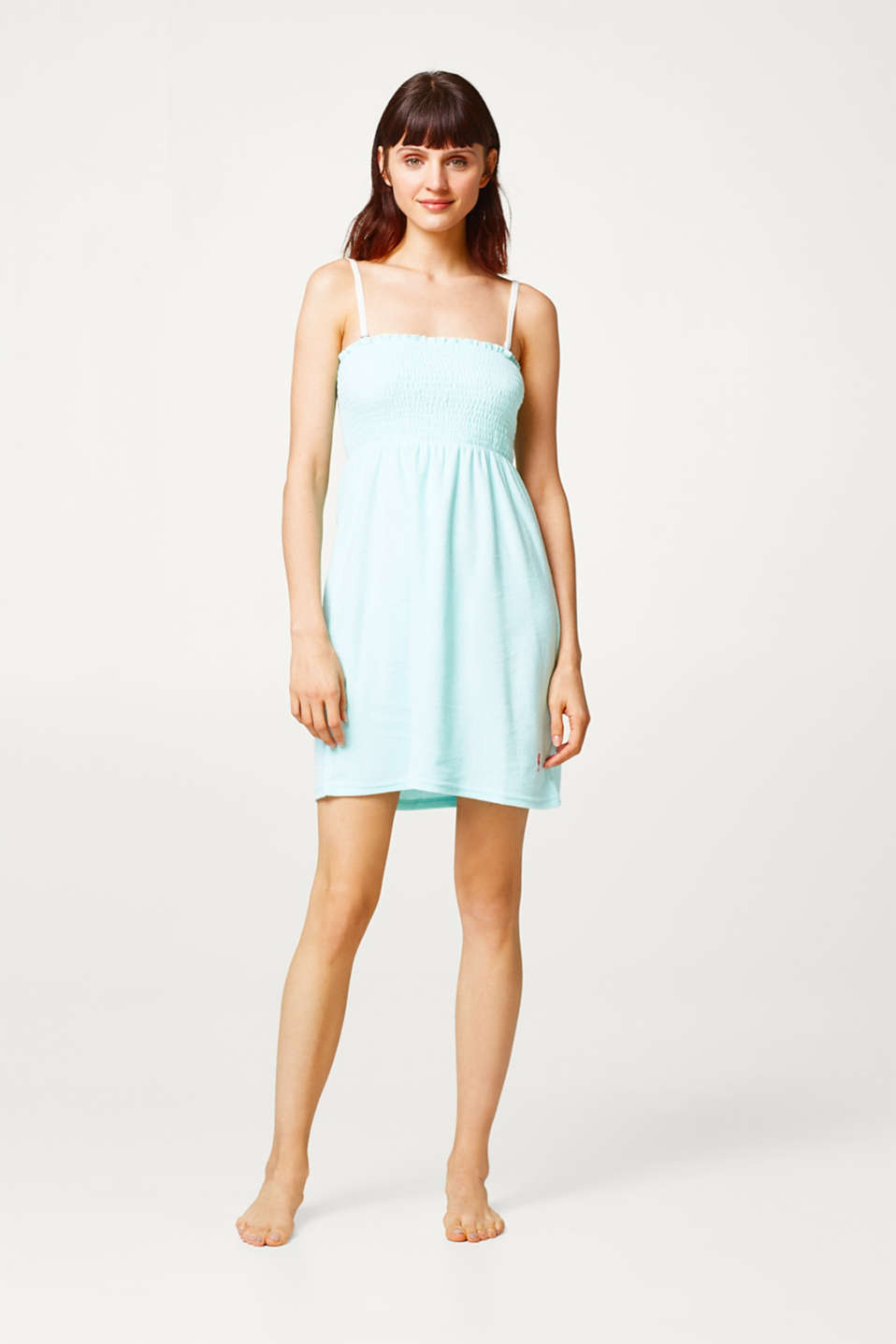 Smocked bandeau dress in lightweight terrycloth