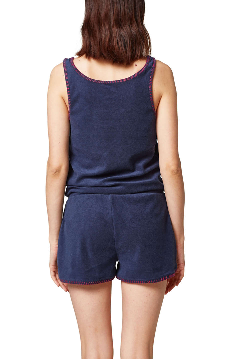 Lightweight terrycloth jumpsuit with contrasting stitching