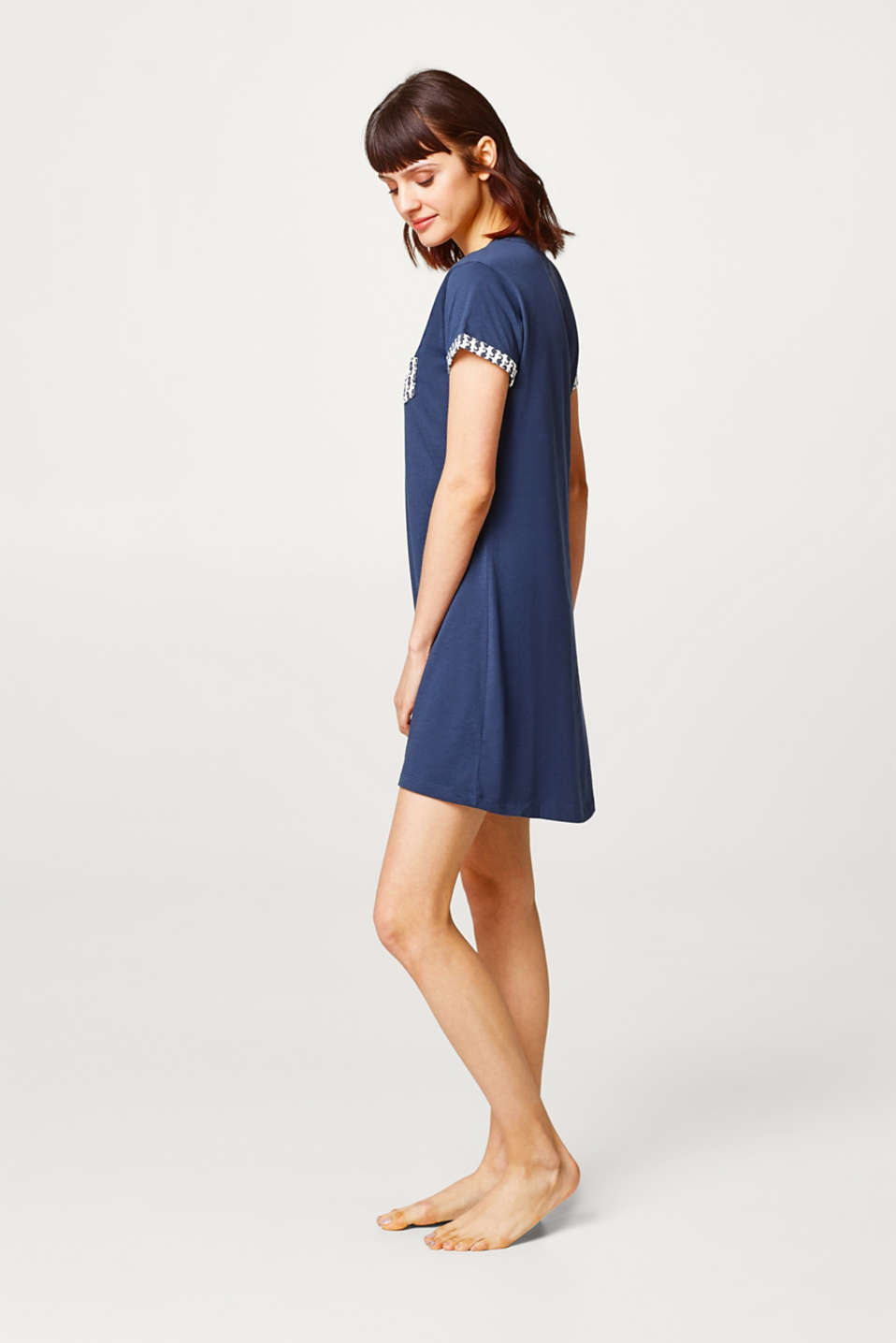 Esprit - Jersey nightdress with print details, 100% cotton